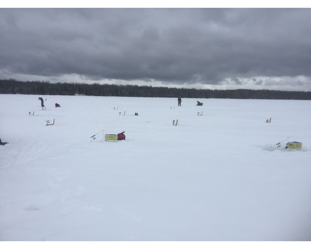 Photo gallery from the timbers resort on lake gogebic in for Ice fishing michigan